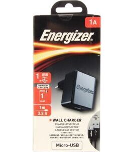 Energizer - Classic Wall Charger Micro USB 1A 1USB EU mit Micro USB Kabel in Schwarz