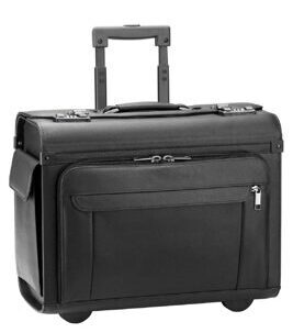 Business & Travel, valise de pilote en cuir, noir